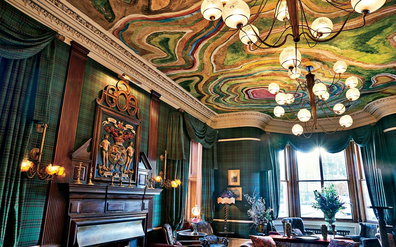 Artwork on the ceiling in the Fife Arms hotel in Scotland