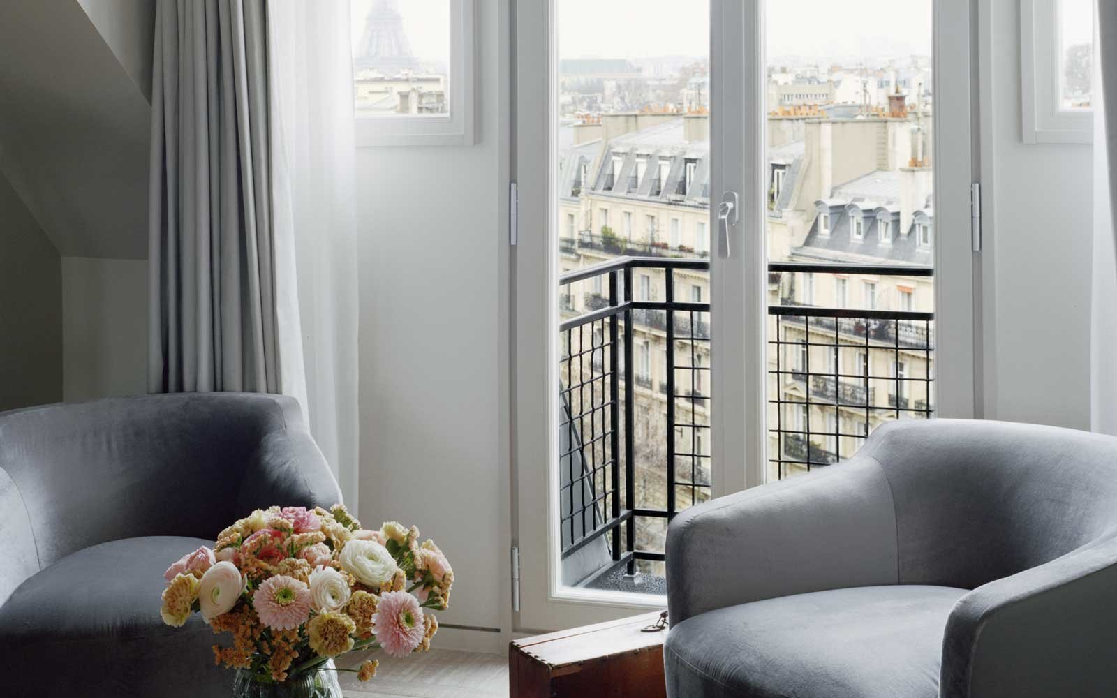 View from a room at the Hotel Lutetia, in Paris, France