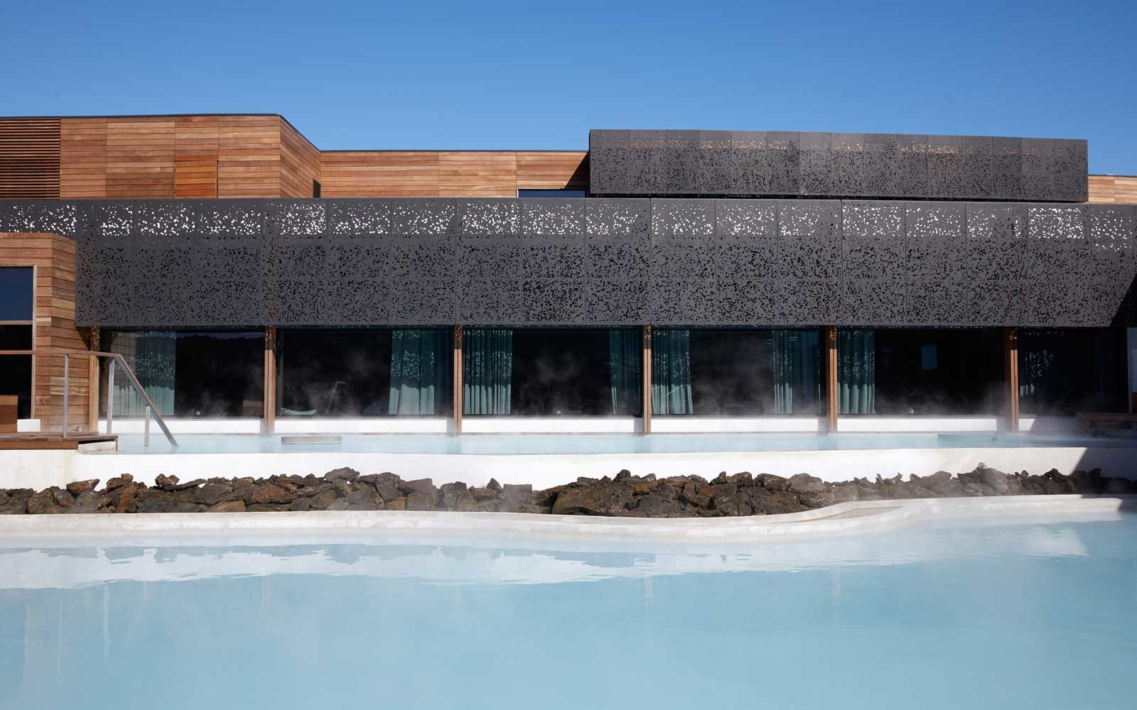 View of the Restreat at Blue Lagoon hotel on Iceland's Blue Lagoon