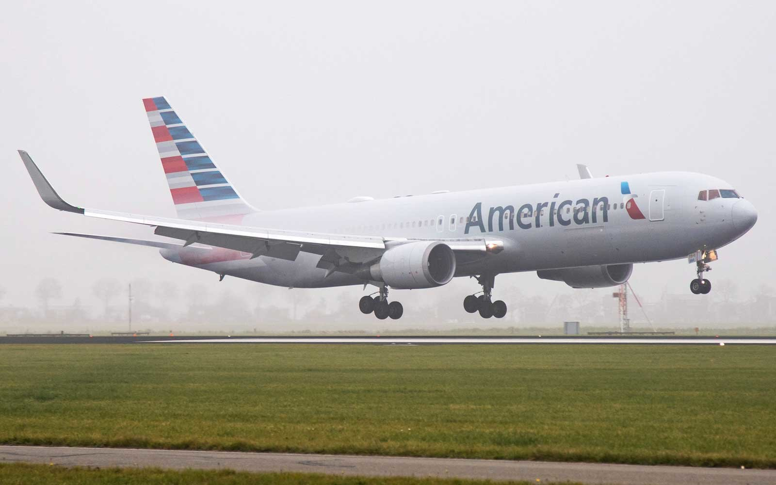 American Airlines plane on landing