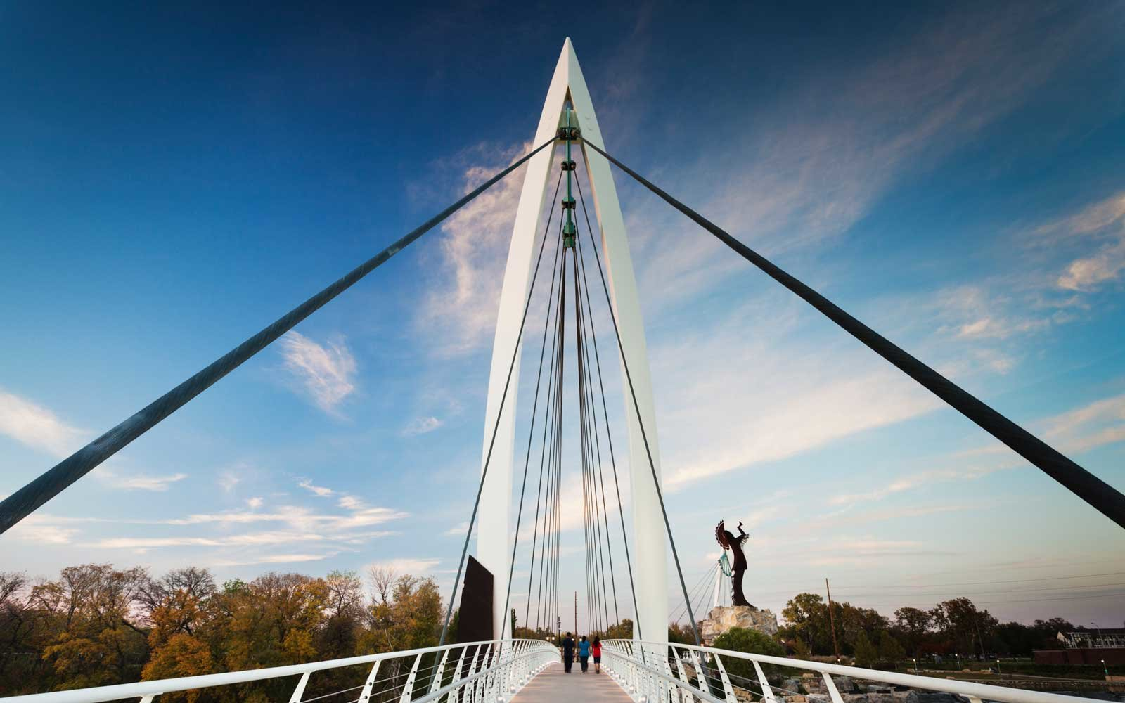 Keeper of the Plains footbridge on the Arkansas River in Wichita, Kansas