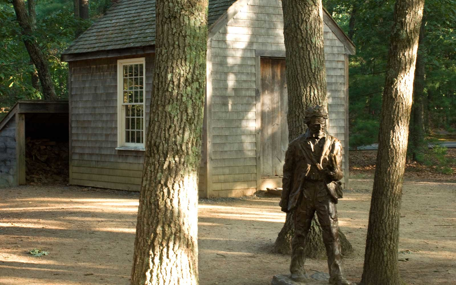 Henry David Thoreau's cabin and statute in Concord, MA