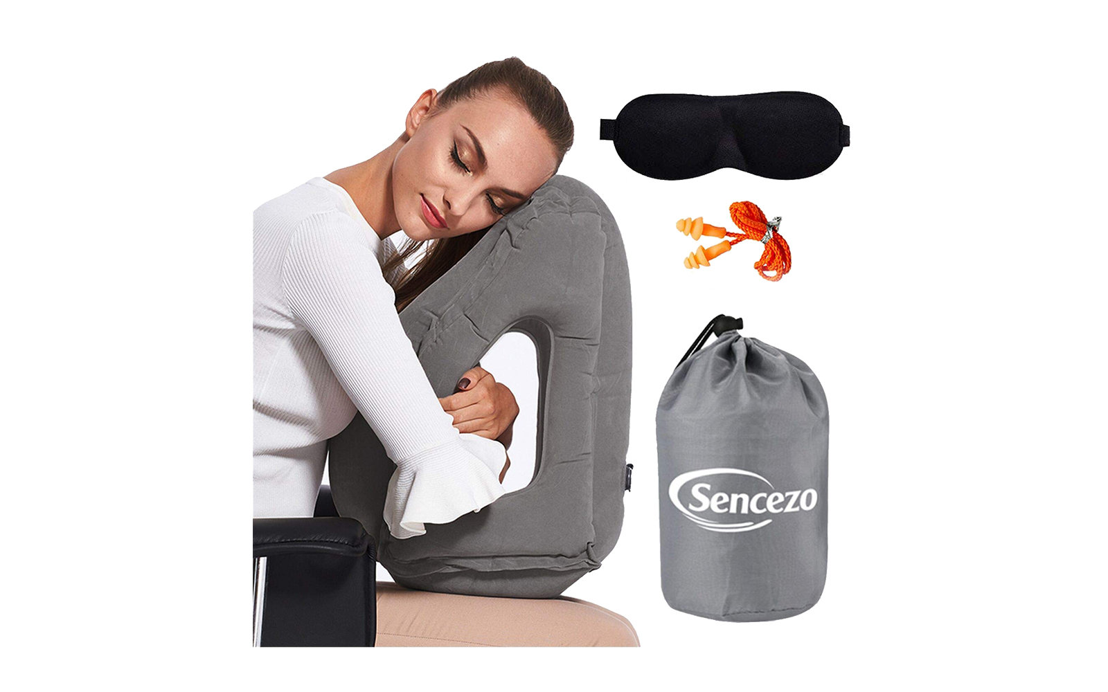Travel Pillow with Eye Mask and Earplugs