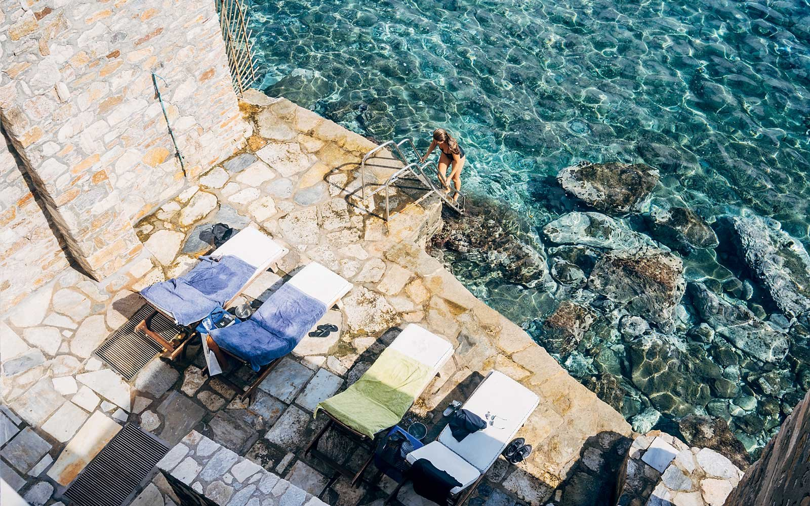 Waterside at the Hotel Ploes in Syros, Greece
