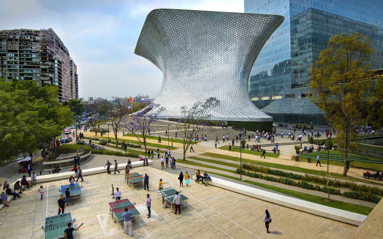 The aluminium paneled Soumaya Musuem stands in Plaza Carso in the Polanco district of Mexico City
