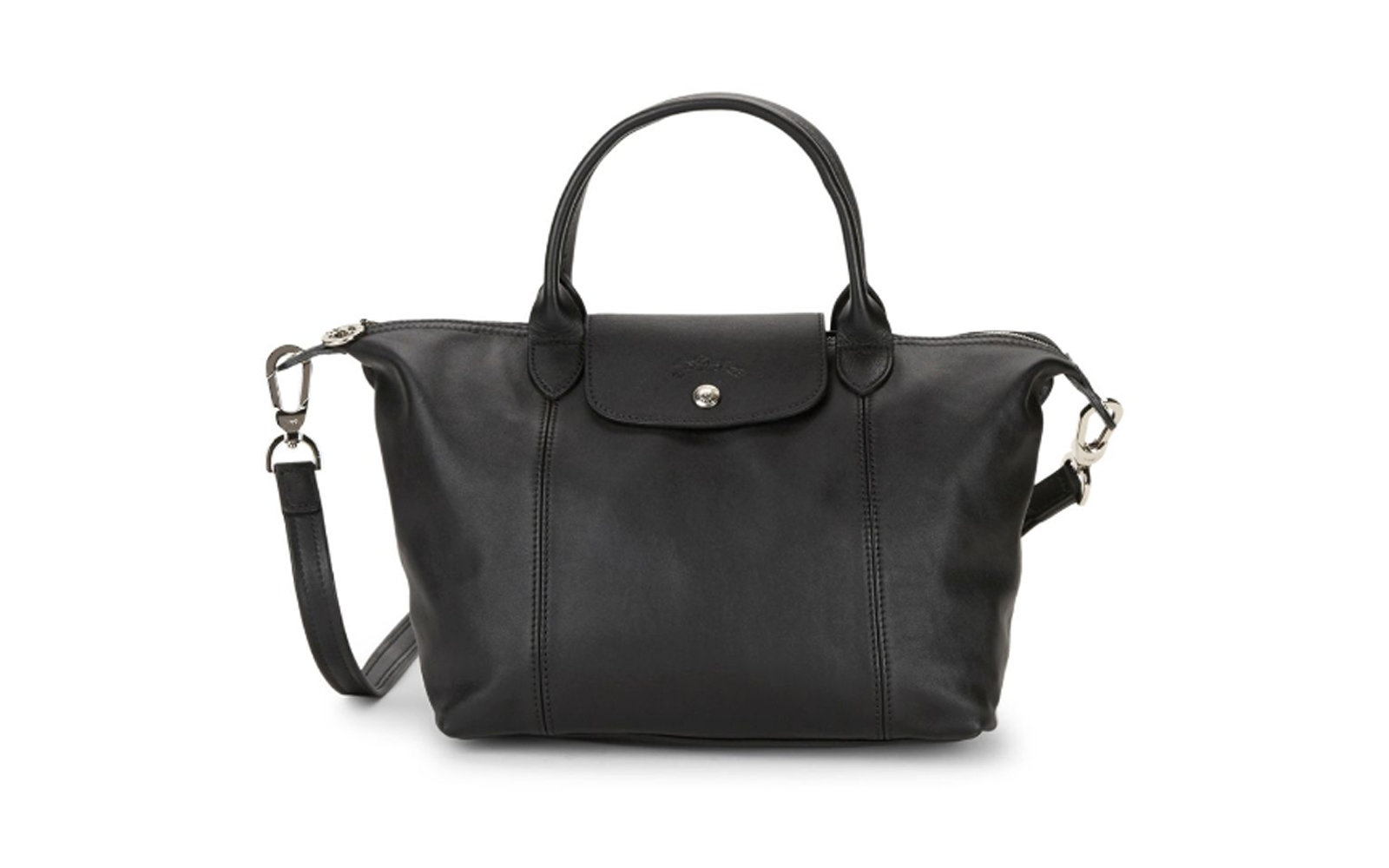 Longchamp Le Pliage Cuir Leather Top Handle Bag in Black