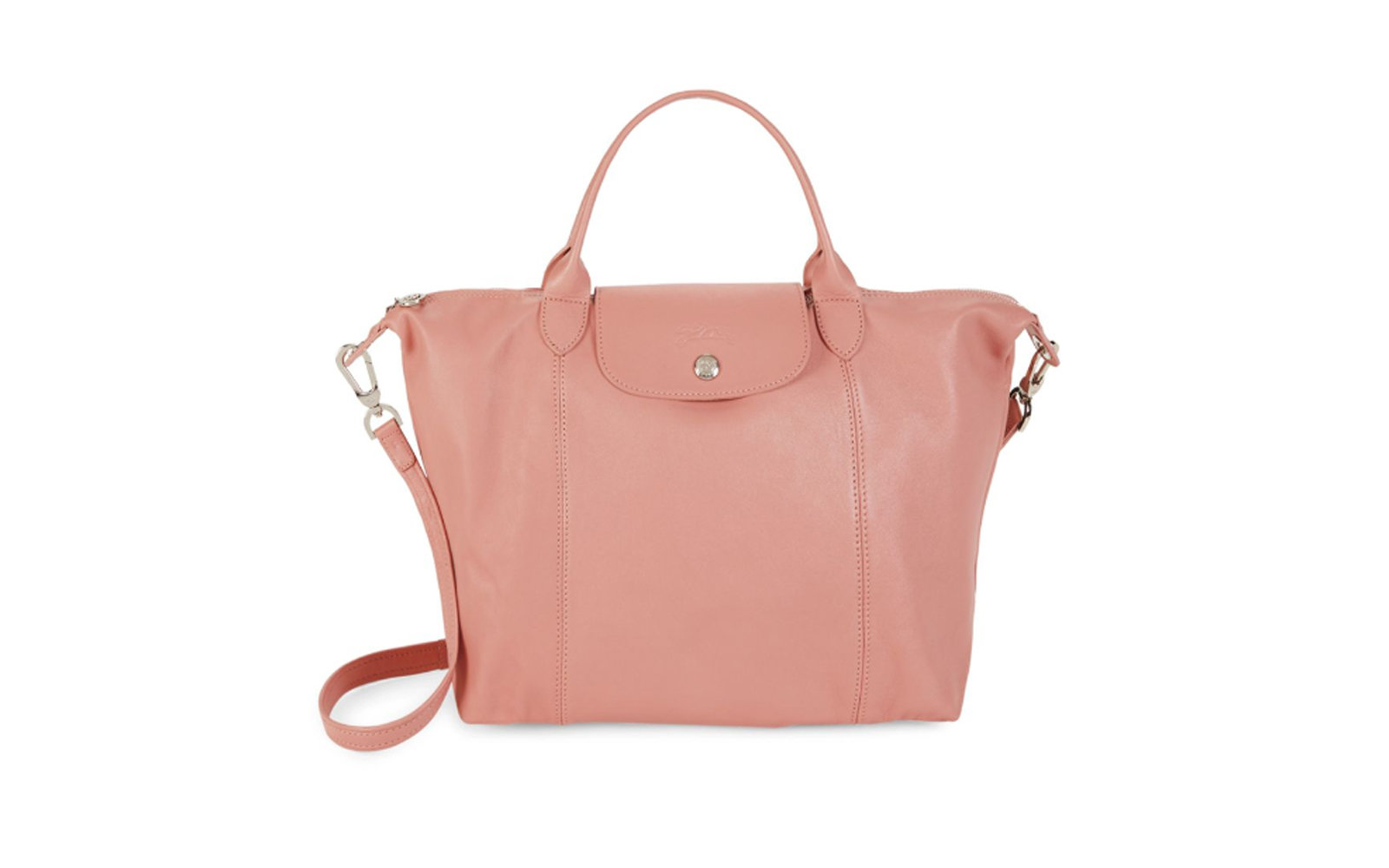 Longchamp Le Pliage Leather Tote in Blush