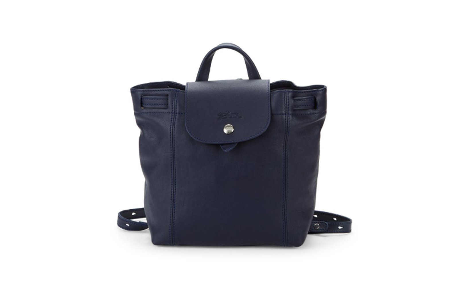 Longchamp Le Pliage Cuir Leather Backpack in Navy