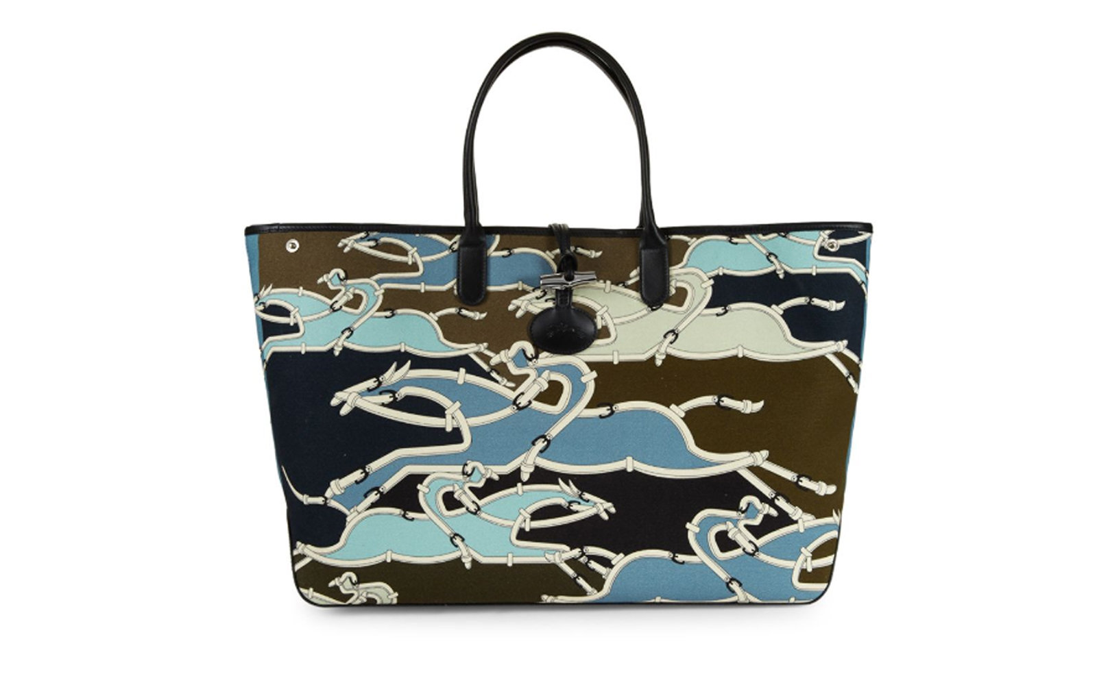 Longchamp Printed Logo Tote in Pilot Blue