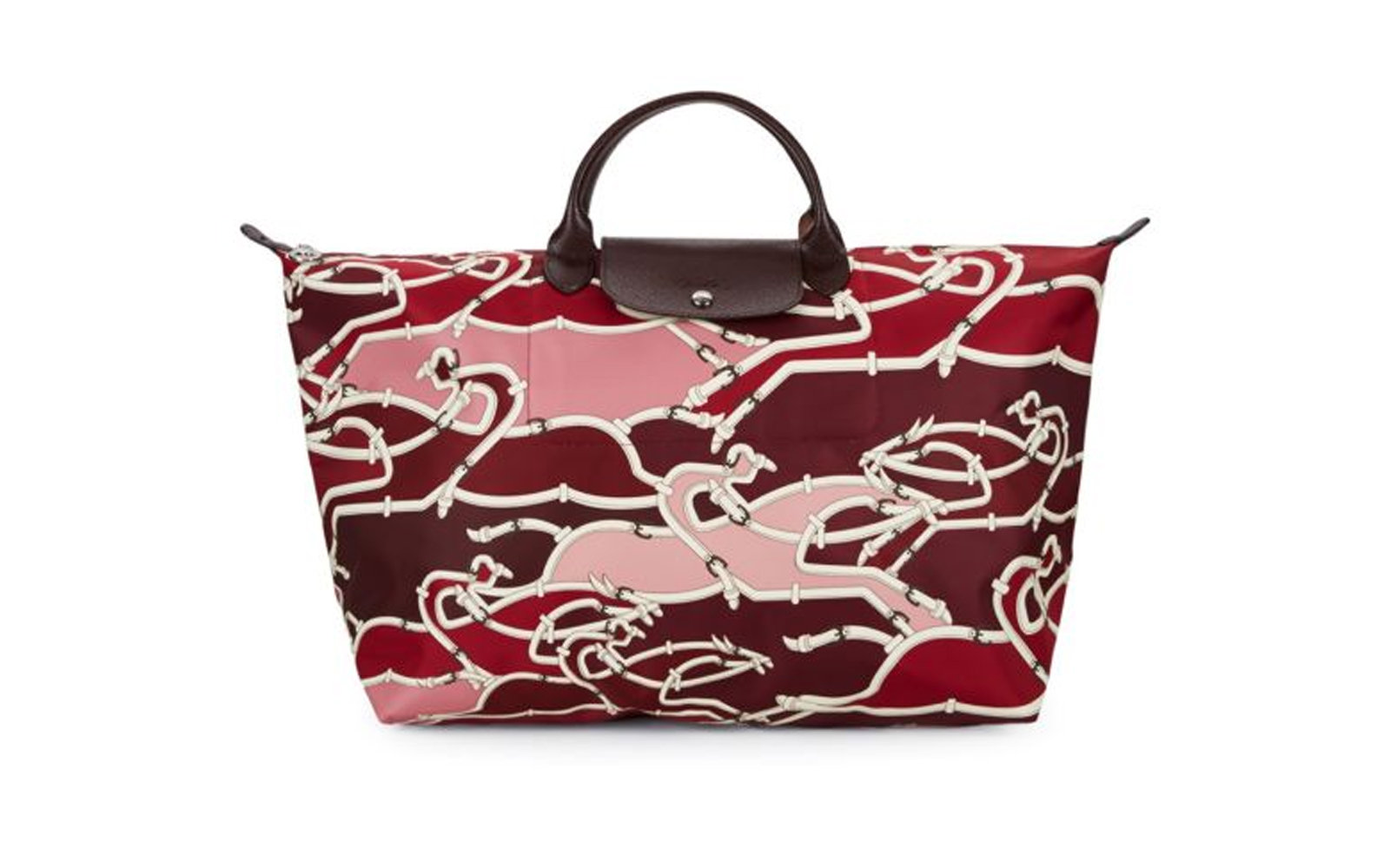 Longchamp Printed Travel Bag in Burgundy