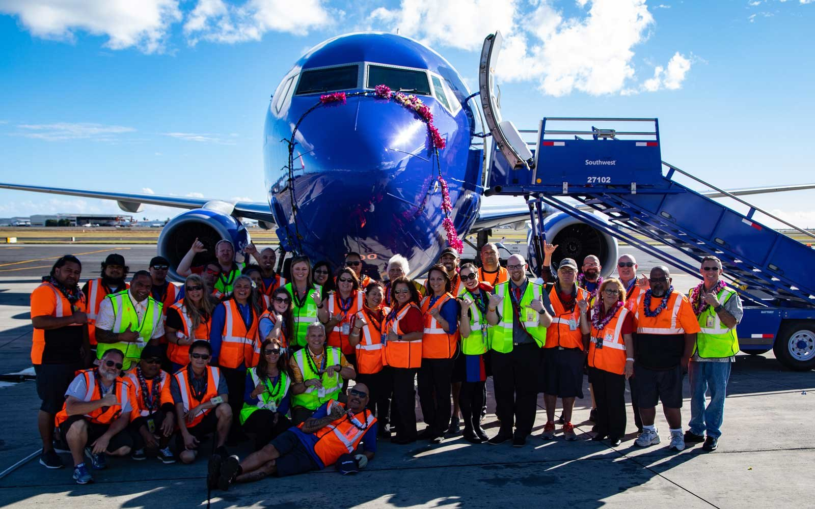 Pictured here are employees of Southwest Airlines.