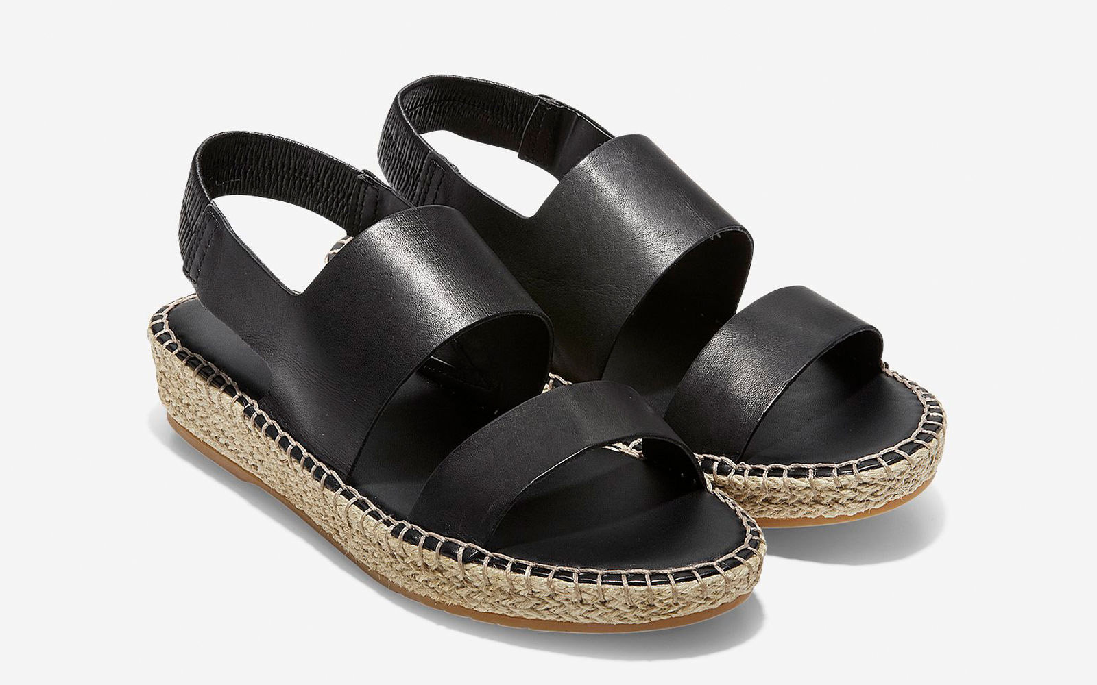 Cloudfeel Espadrille Sandal in Black Leather