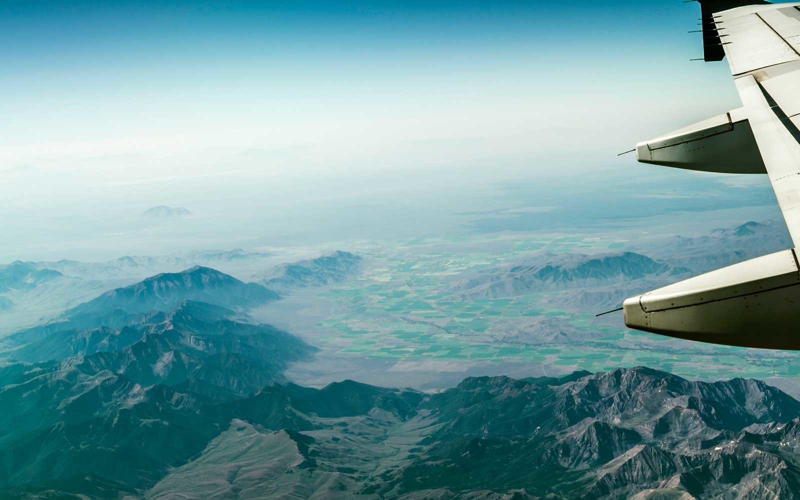 Airplane over Rocky Mountains