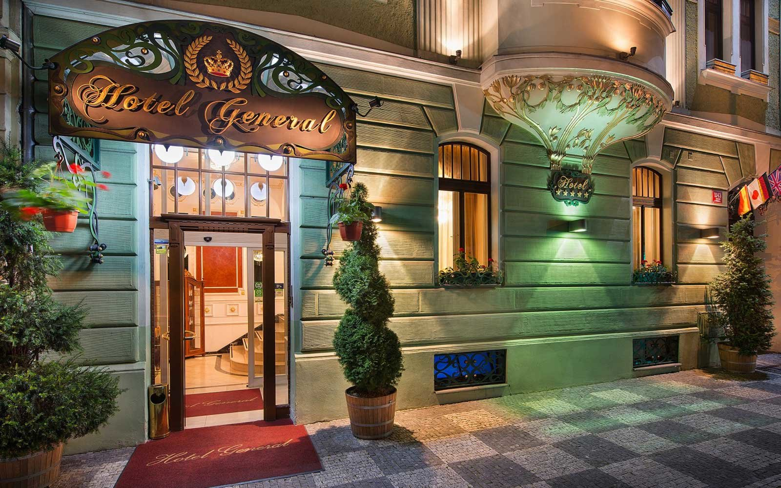 Exterior of the Hotel General in Prague, Czech Republic