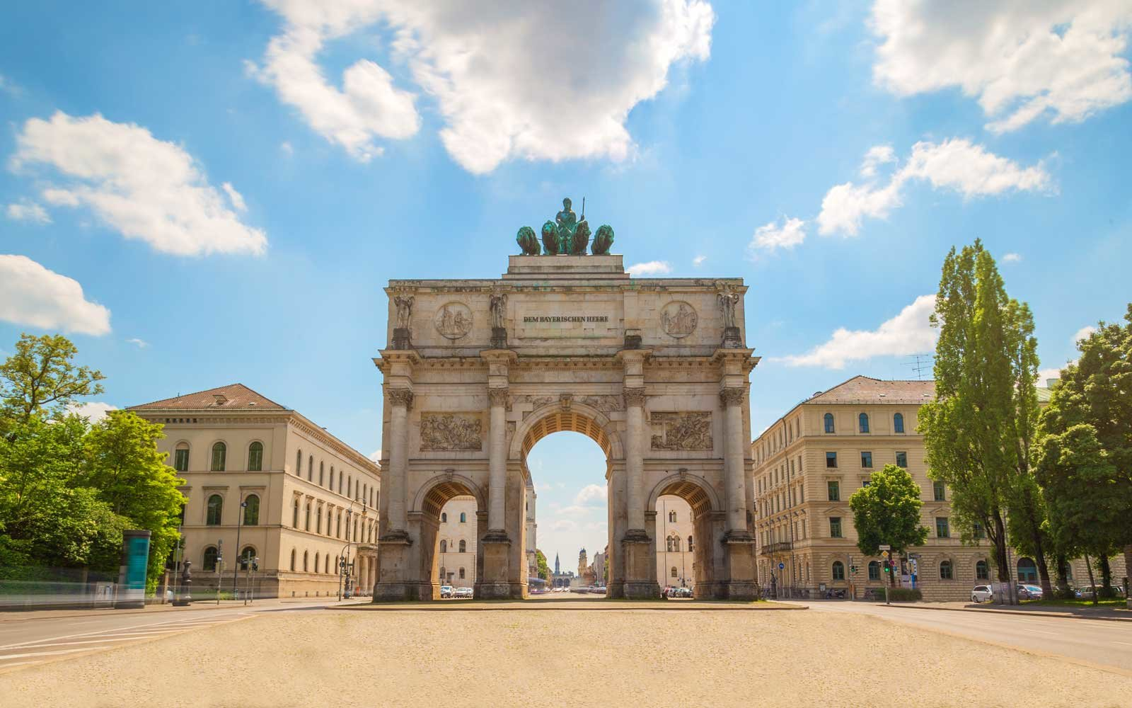 The Siegestor (Victory Gate) in Munich, Germany. Originally dedicated to the glory of the army it is now a reminder to peace.