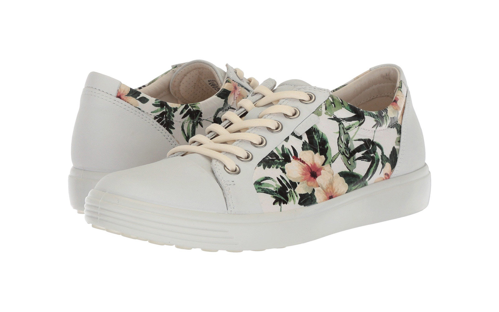 36aeecabb76fef Ecco Soft 7 Women's Sneaker in White/Flower Print. ecco leather soft 7  comfortable sneakers