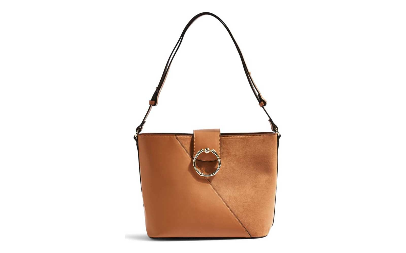 Topshop Spark Piece Faux Leather Hobo Bag