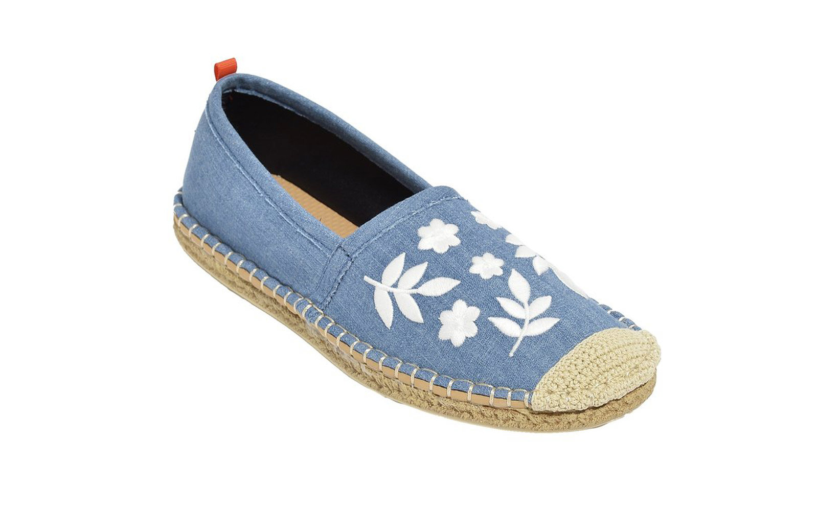 denim embroidered espadrille