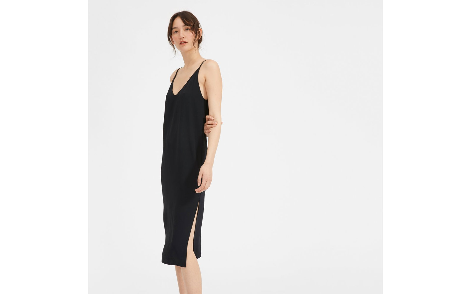 The Japanese GoWeave Long Slip Dress in Black