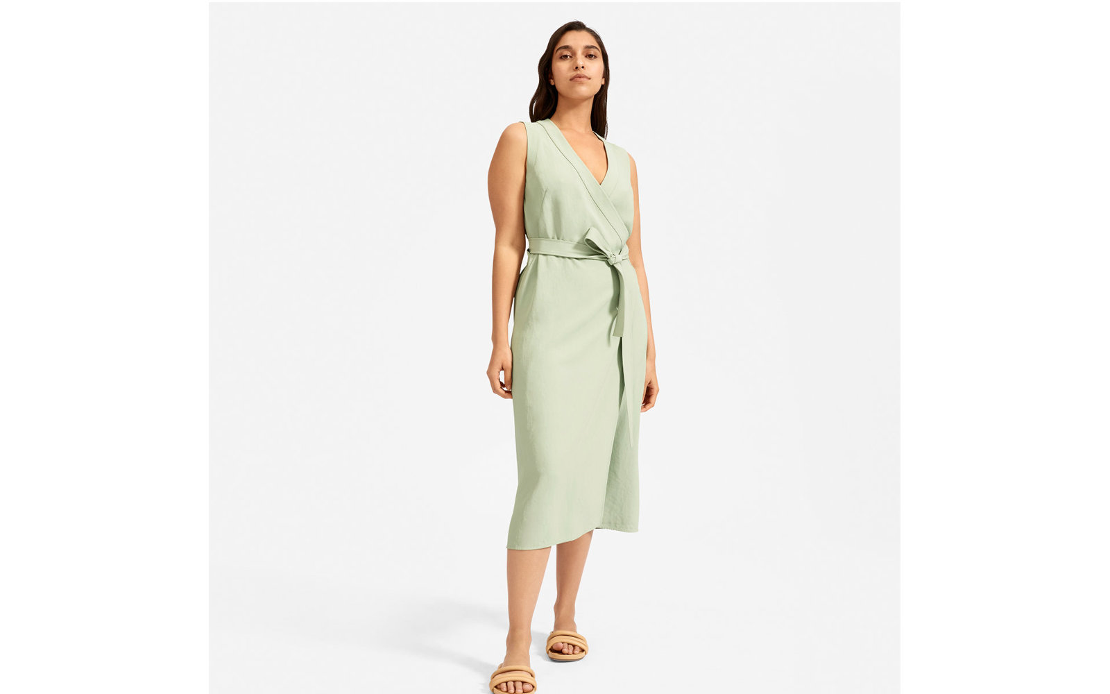 The Japanese GoWeave Sleeveless Wrap Dress in Mint Green