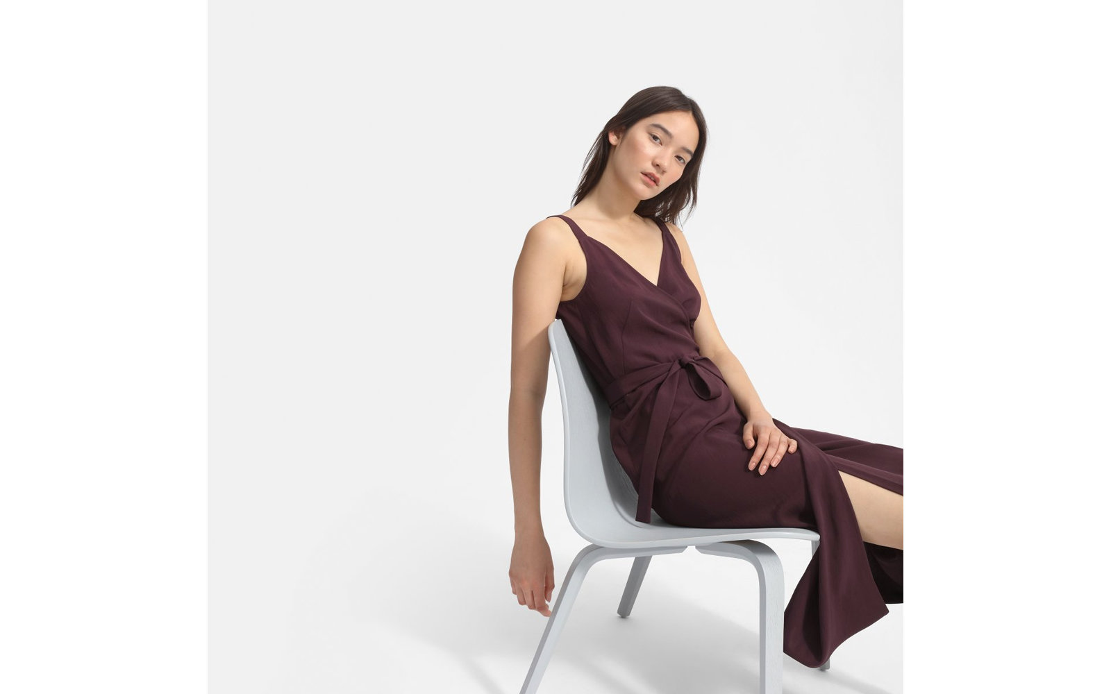 The Japanese GoWeave Tank Wrap Dress in Plum