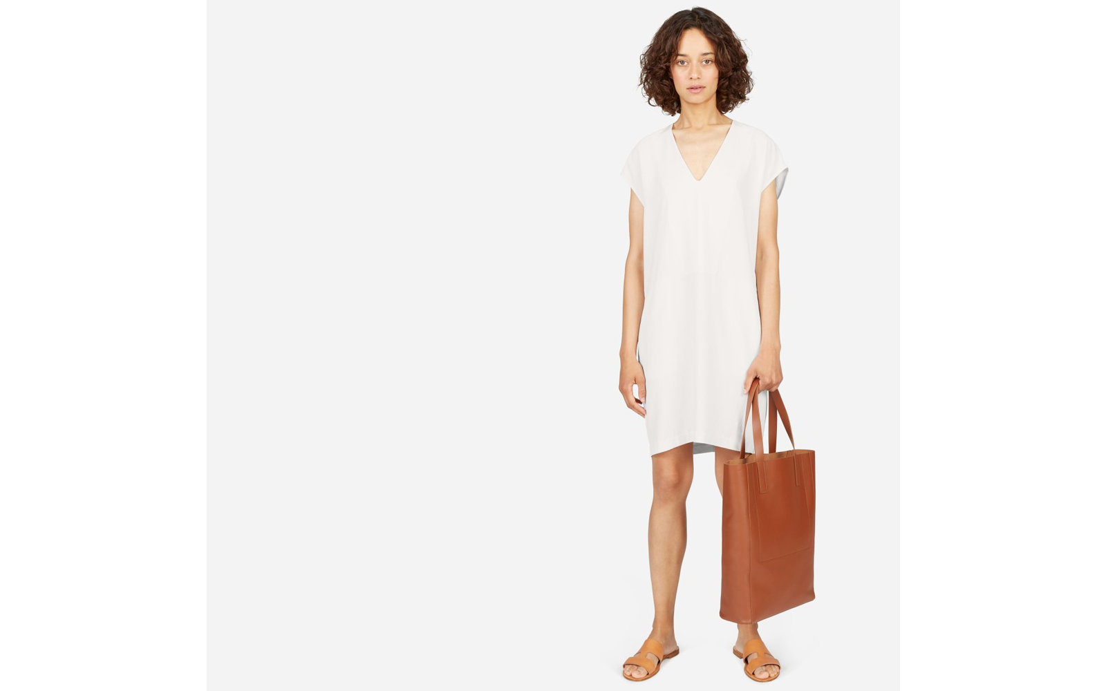 The Japanese GoWeave V-neck Cocoon Dress in Bone