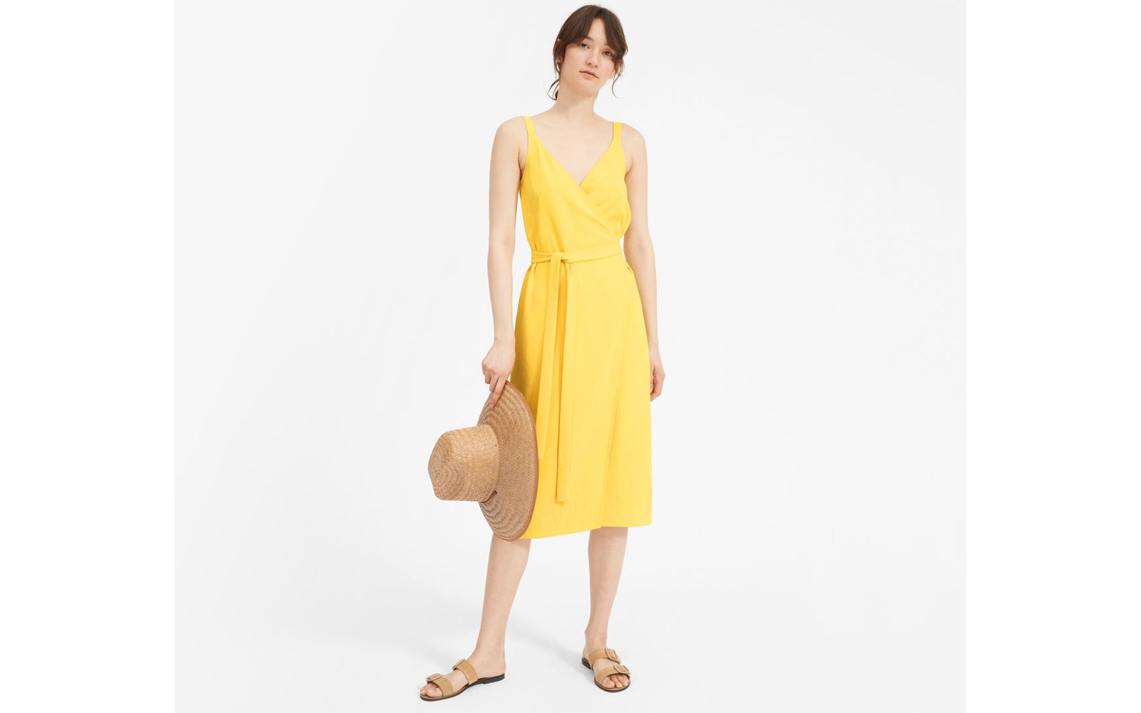 The Japanese GoWeave Tank Wrap Dress in Yellow