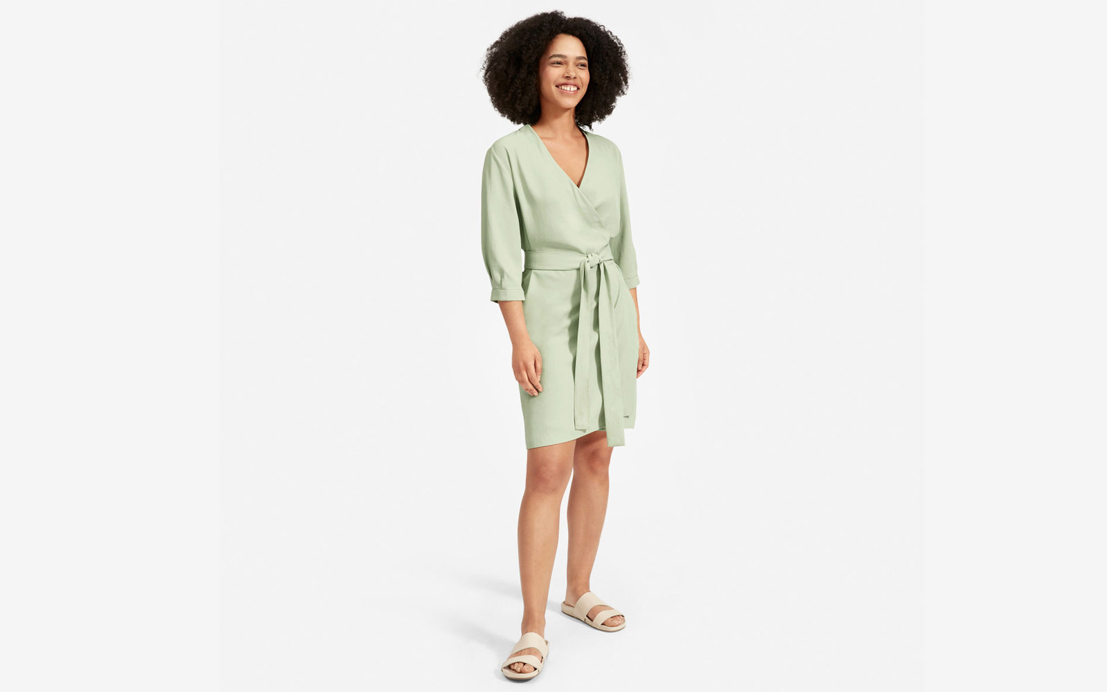 The Japanese GoWeave Long-sleeve Mini Wrap Dress in Mint Green