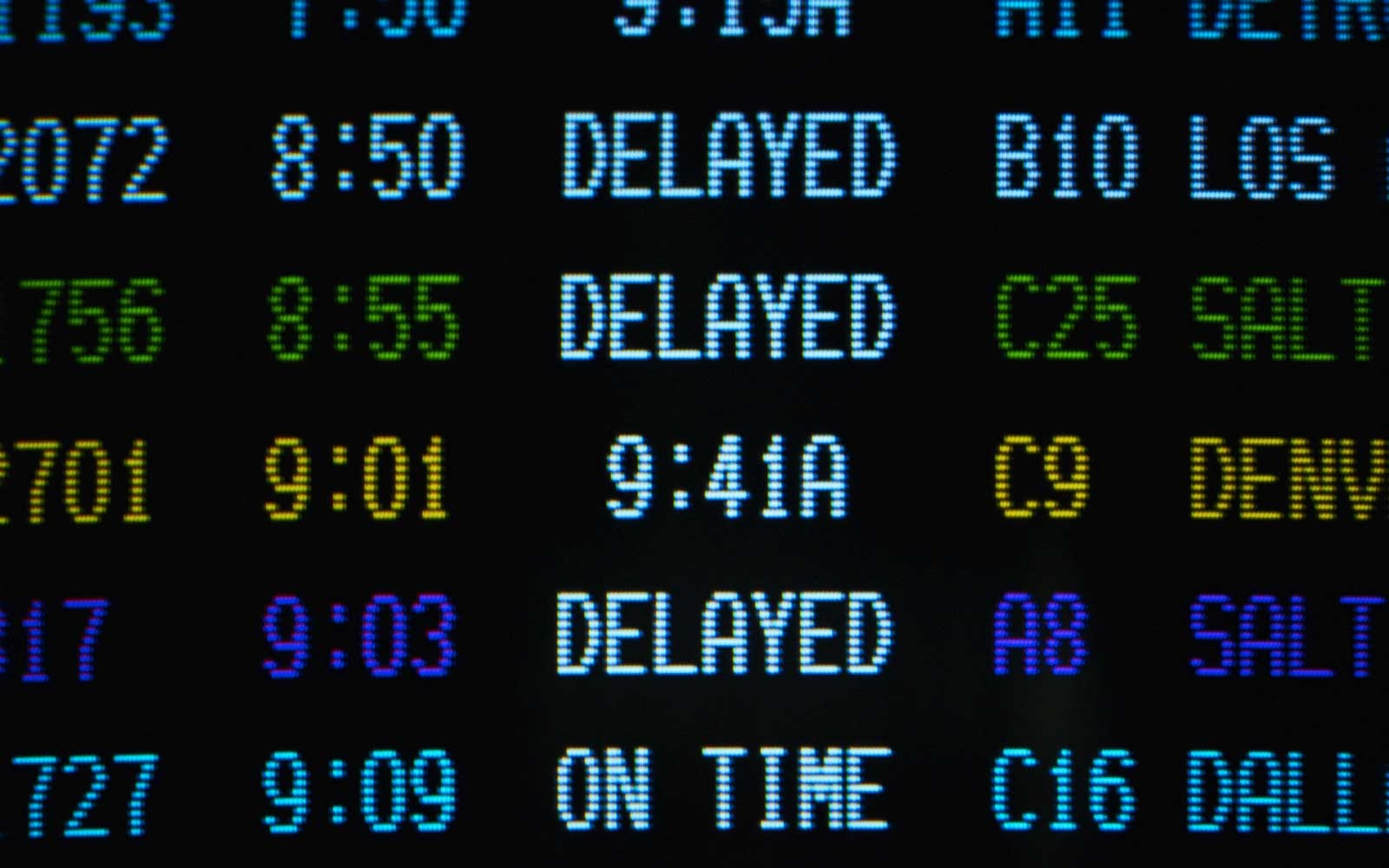 Airlines flight status board