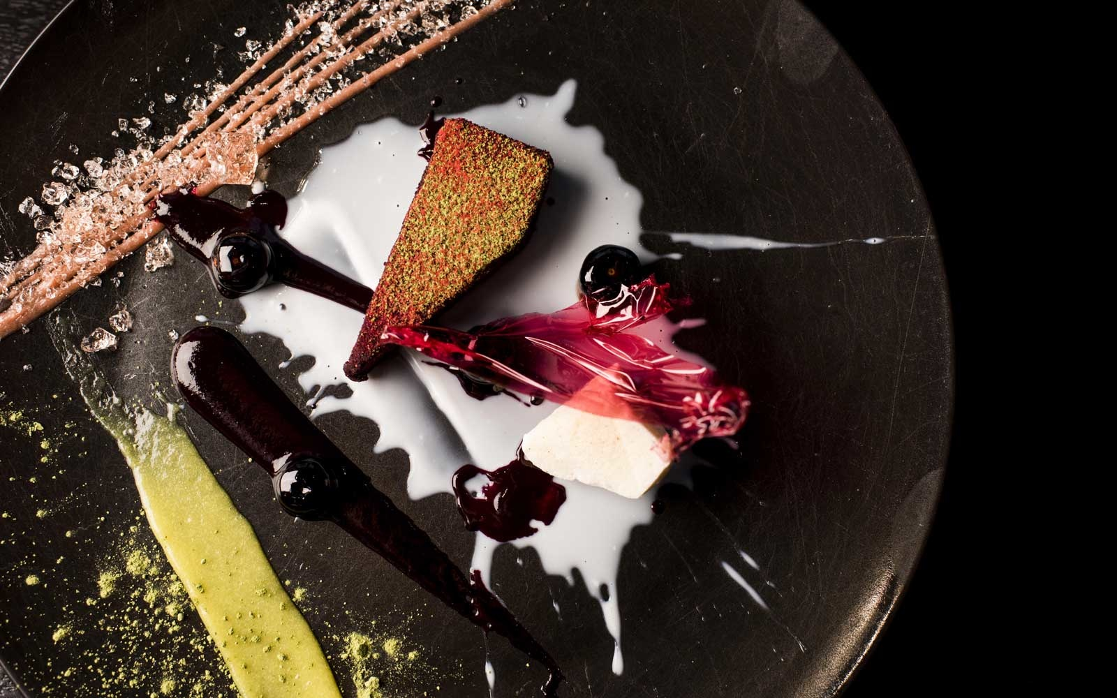 Matcha, Berries, Hibiscus Cheesecake at the Alinea Restaurant in Chicago, Illinois