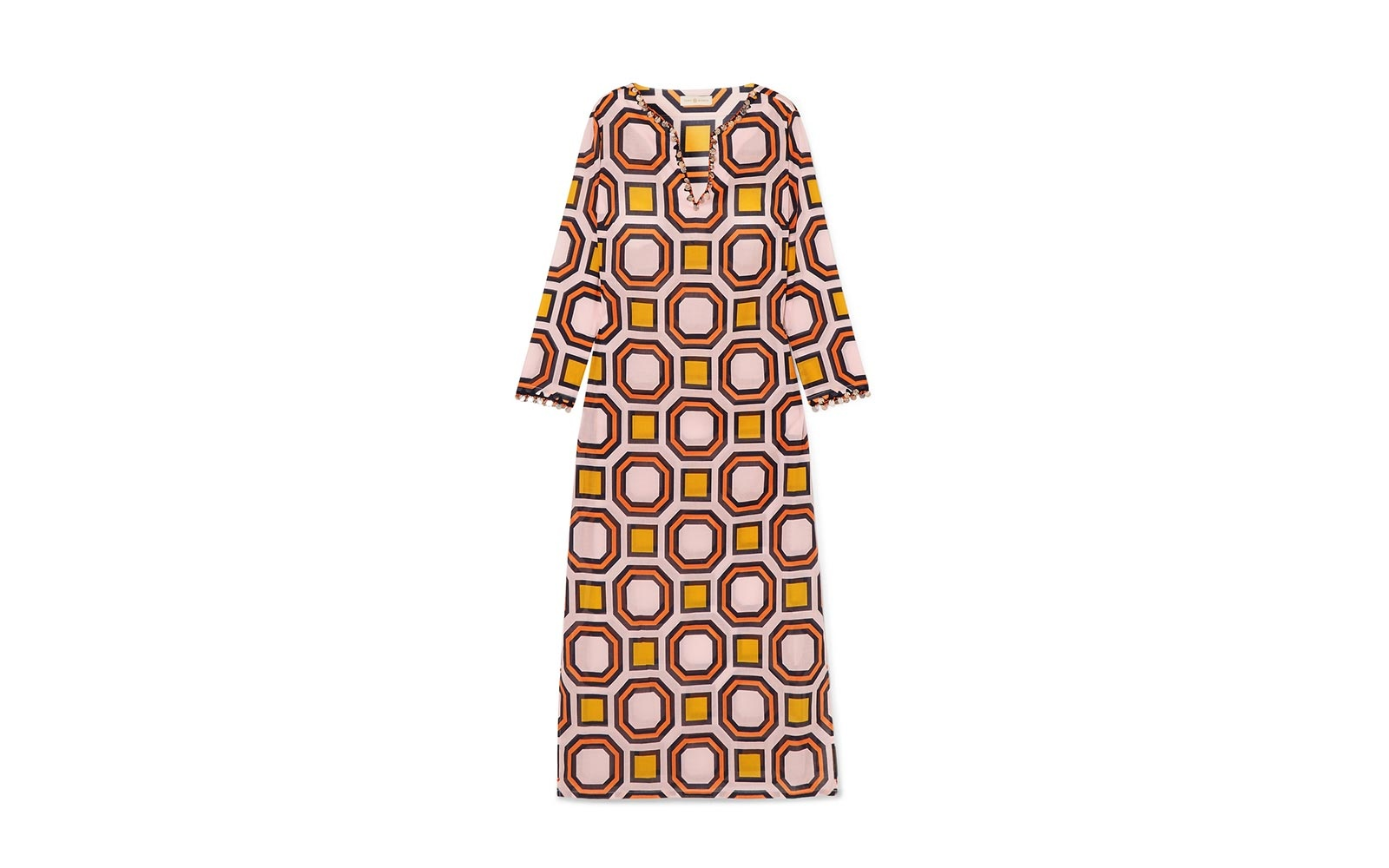 f23e6a85ab Tory Burch geo embellished printed cotton voile kaftan. Tory Burch caftan  dress