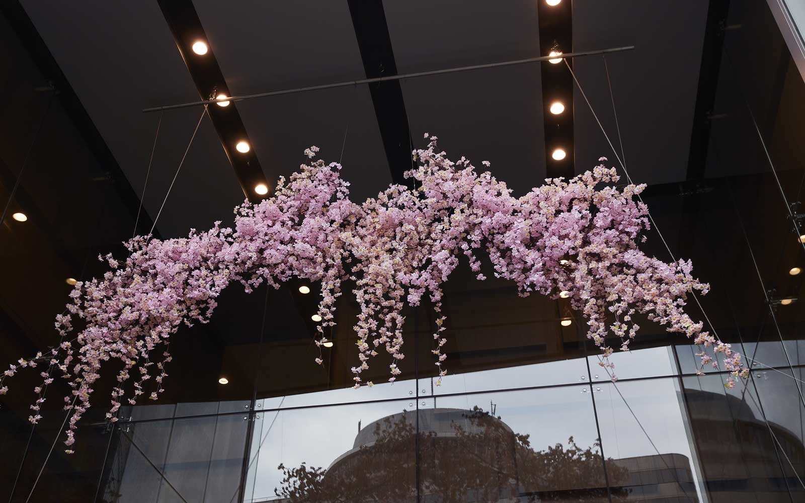 Cherry blossom floral arrangement on the streets of Tokyo