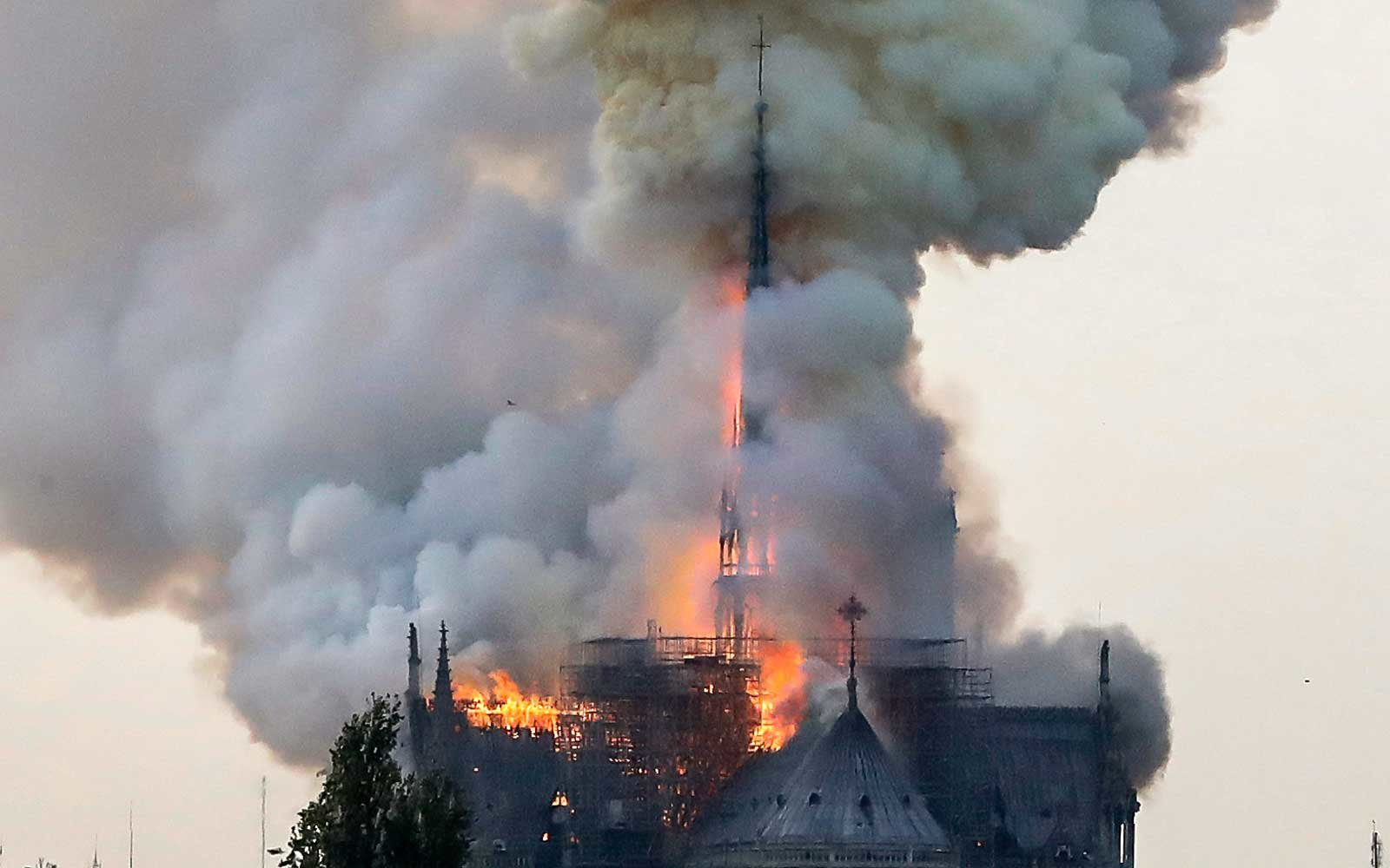 Notre Dame Cathedral on fire in Paris