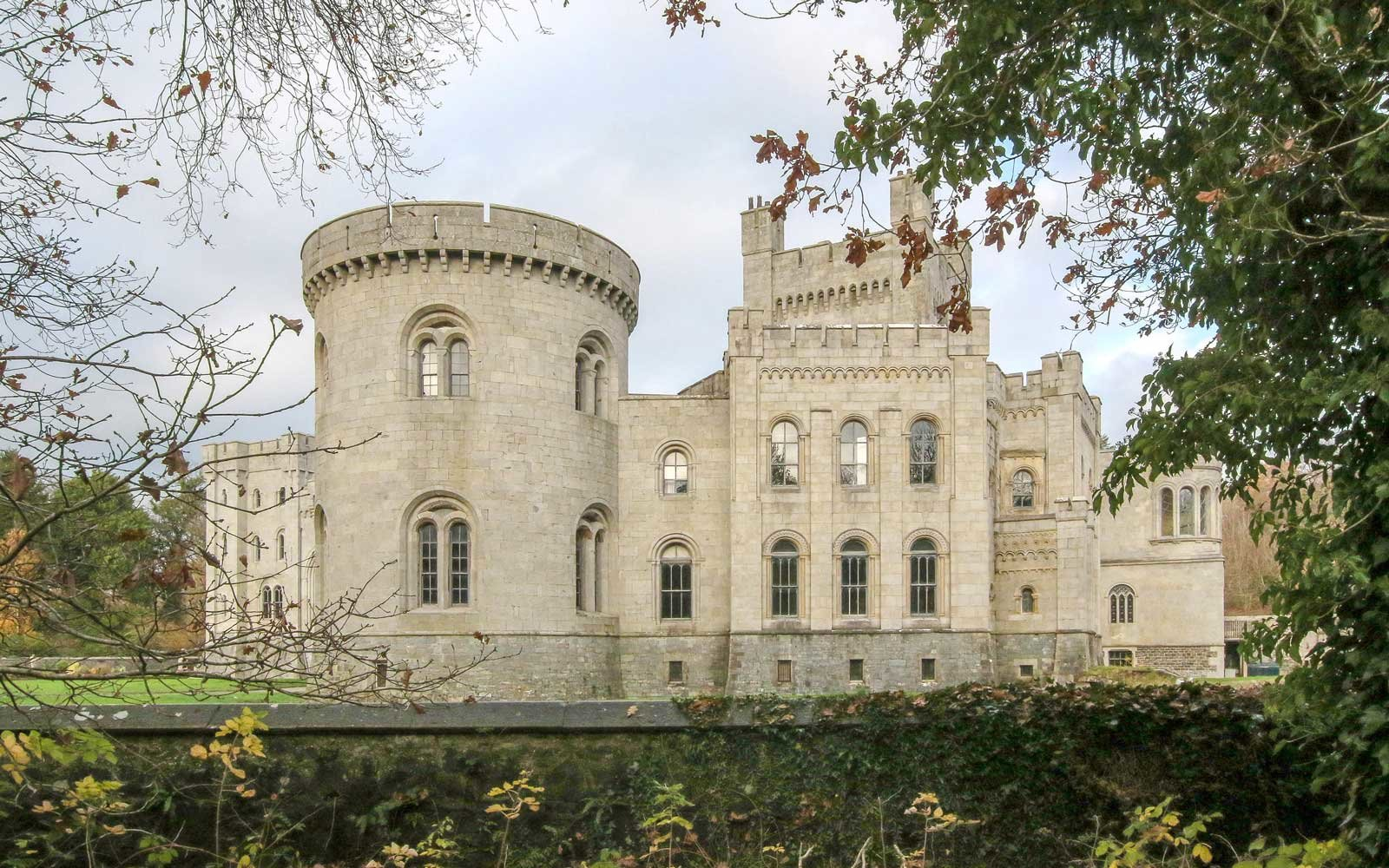 External view of a castle in Northern Ireland, Gosford Castle, Gosford Forest Park, County Armagh.