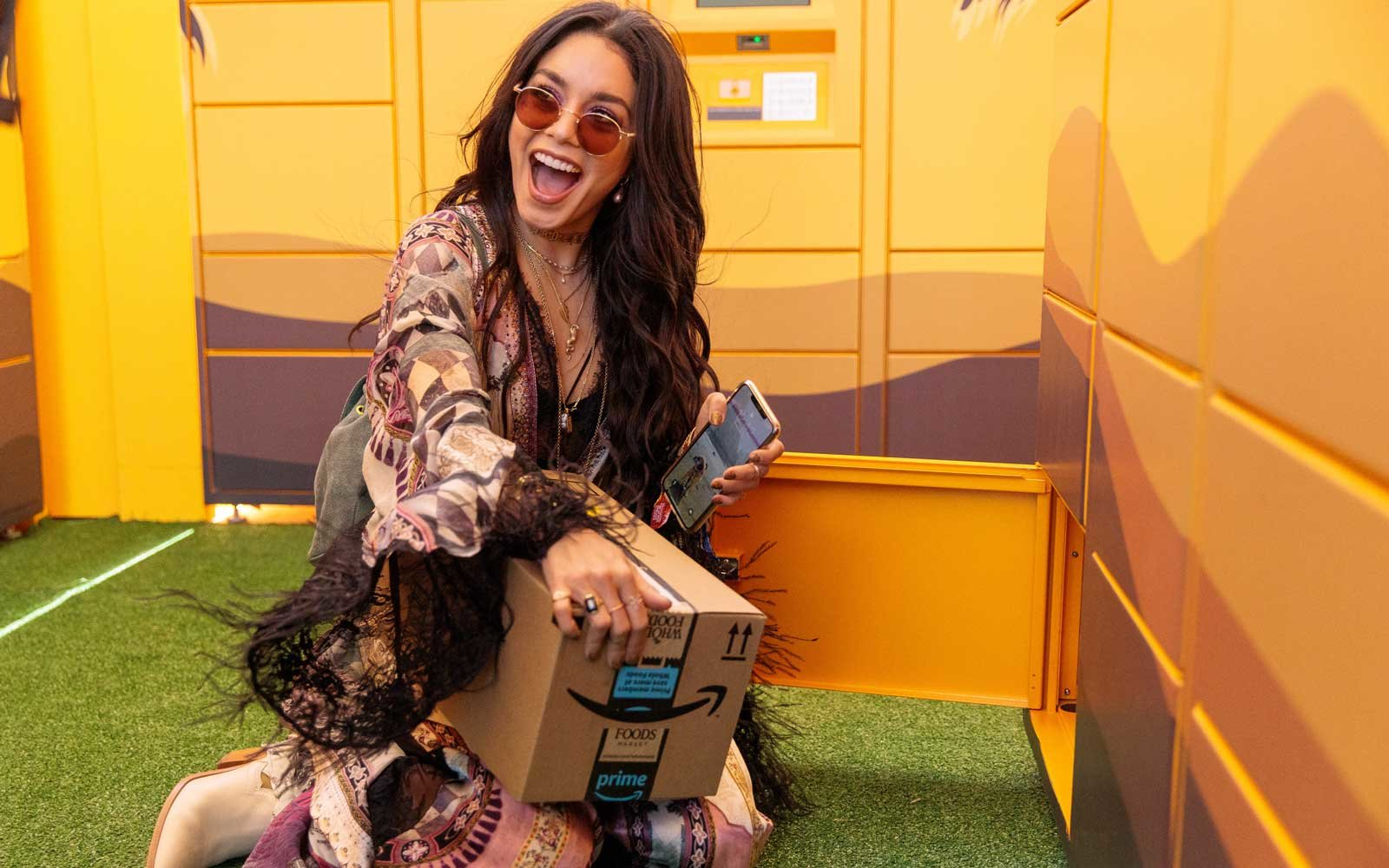 Amazon lockers at Coachella with Vanessa Hudgens