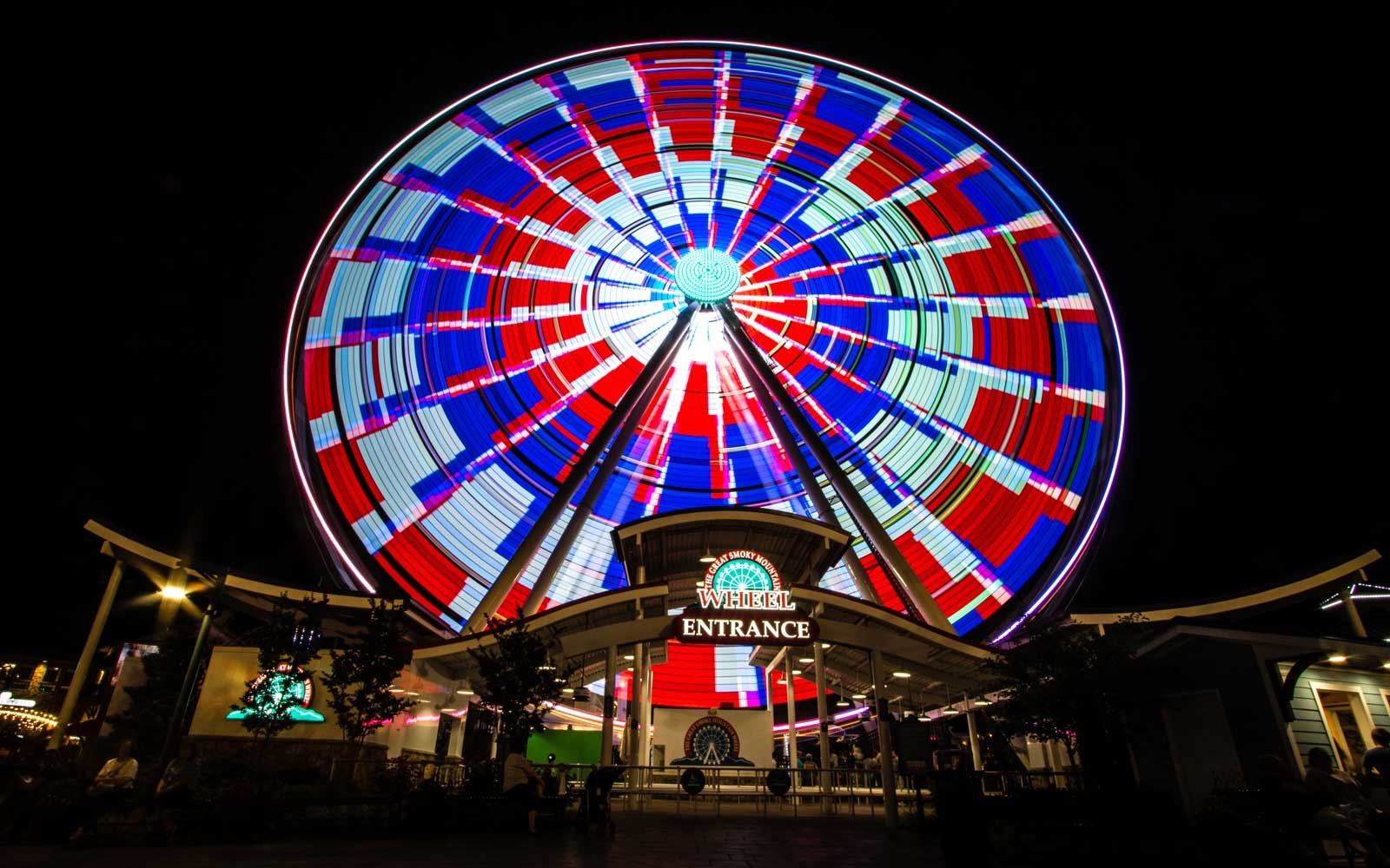 The Great Smoky Mountain Sky Wheel located at the Island entertainment complex in the resort town of Pigeon Forge, Tennessee