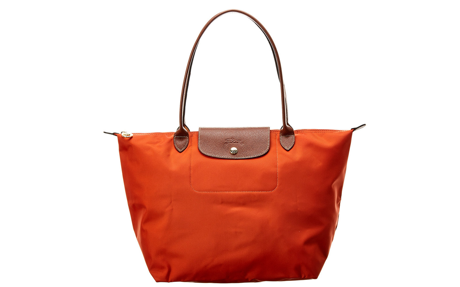 save off e4423 e3ac3 Longchamp Le Pliage Large Nylon Long Handle Tote in Red