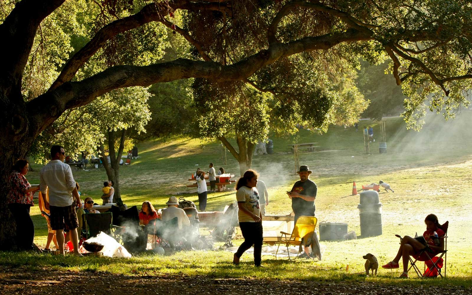 Families picnic in Griffith Park in Los Angeles during the long Memorial Day Weekend