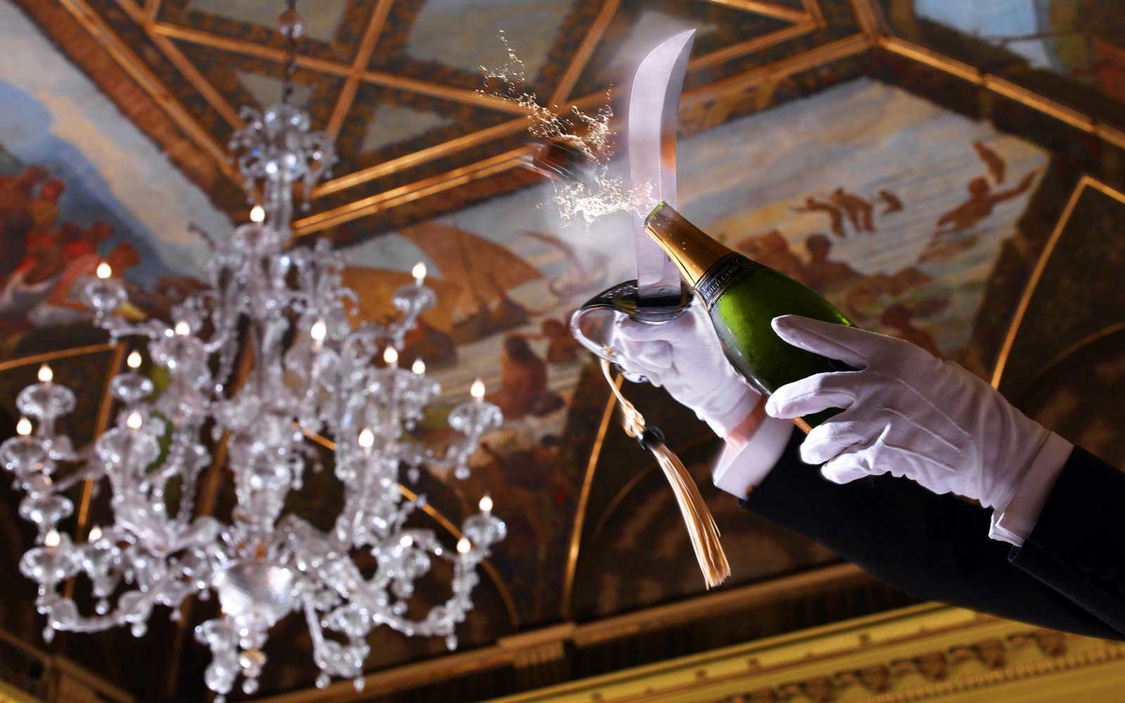 Guests at the St. Regis San Francisco can get a highly champagne sabering.