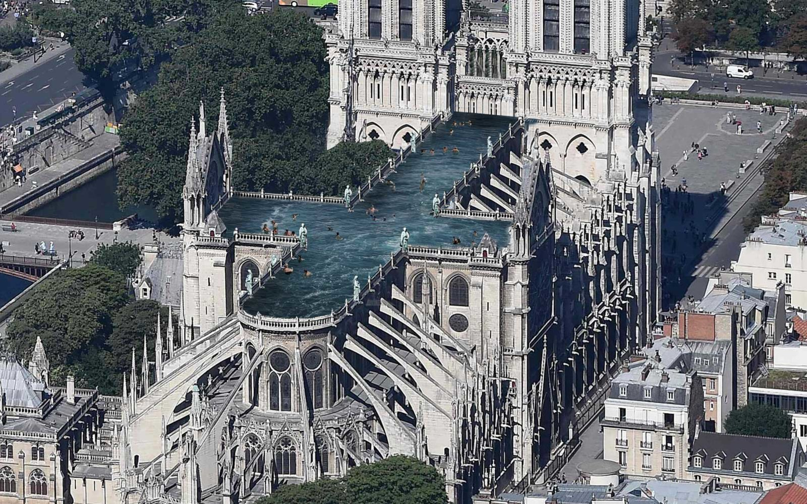 Design Firm Proposes a Cross-shaped Rooftop Pool on the Notre Dame Cathedral
