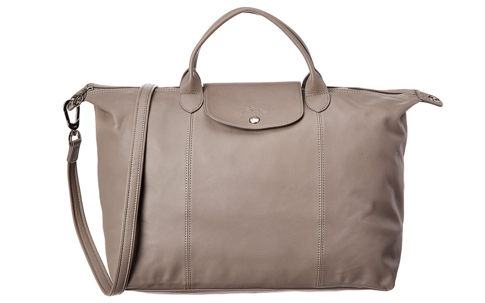 Longchamp Le Pliage Cuir Large Leather Short Handle Tote in Pebble