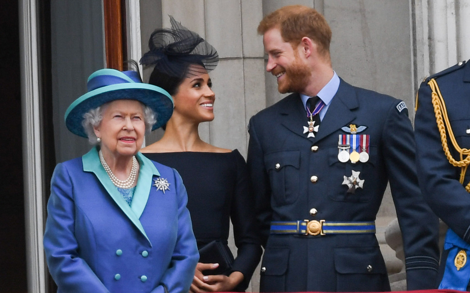 Queen Elizabeth II with Prince Harry and Duchess Meghan of Sussex