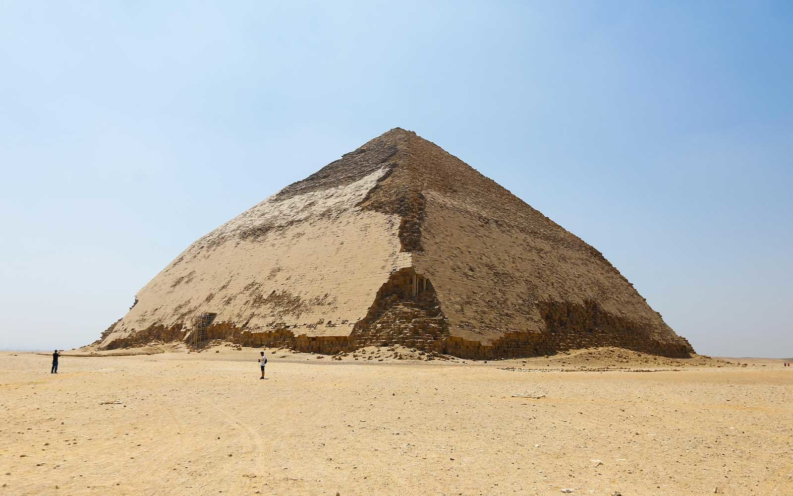 A general view for the newly restored Bent Pyramid of Sneferu.
