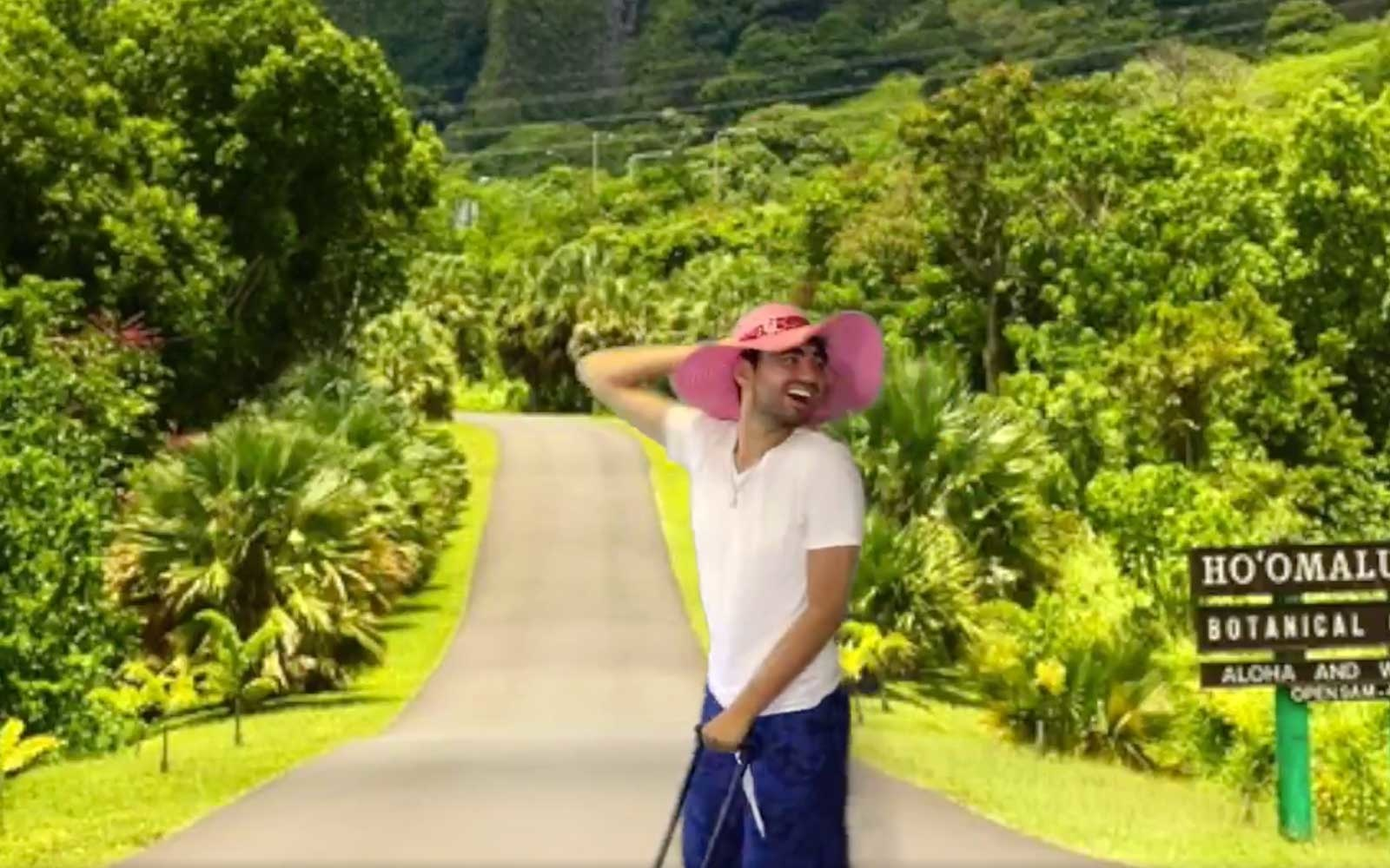 Twitter user, @aanthonyy07, green screened vacation to Hawaii