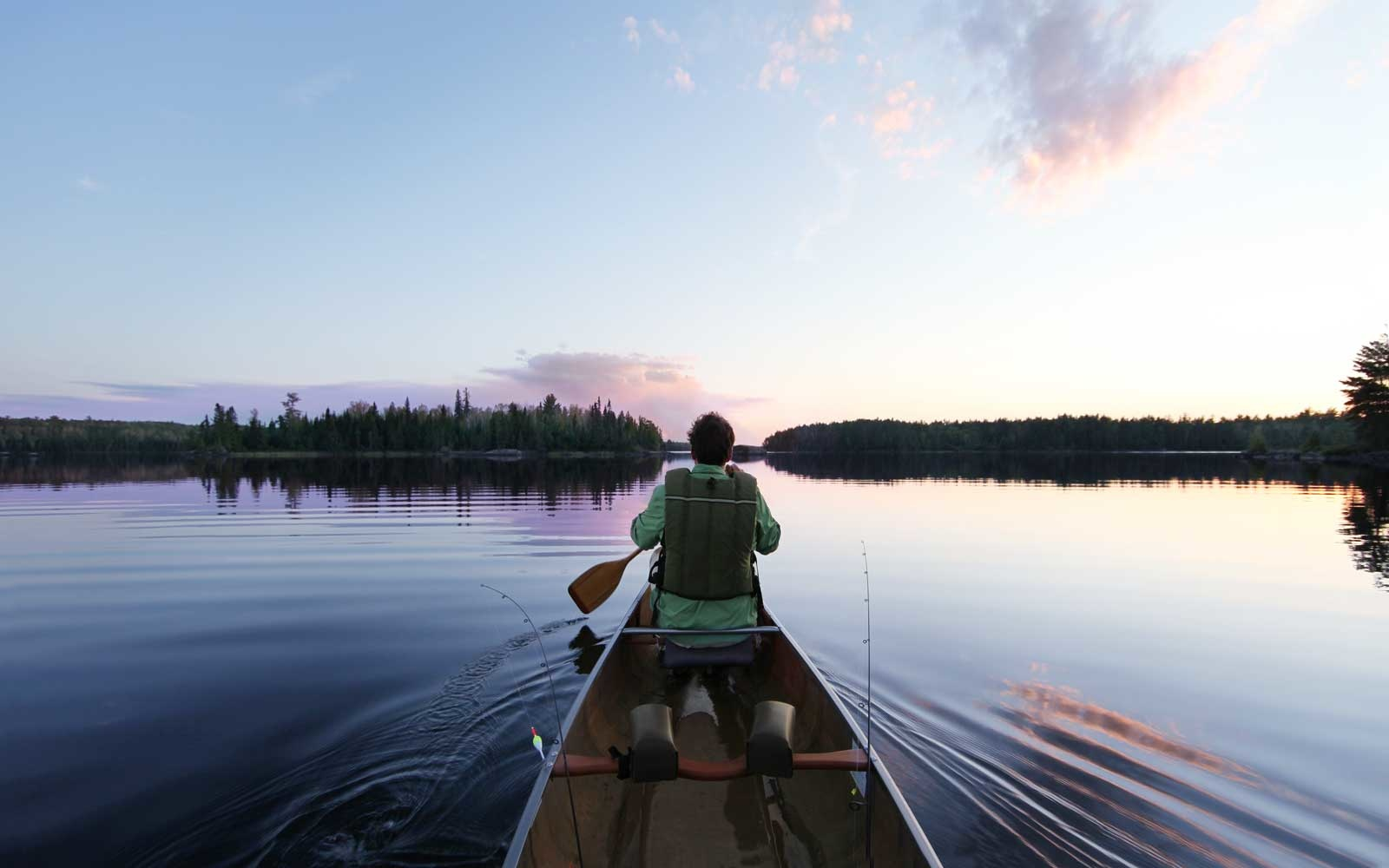 The sun sets on a perfect September day of paddling and fishing in the Boundary Waters Canoe Area, Minnesota