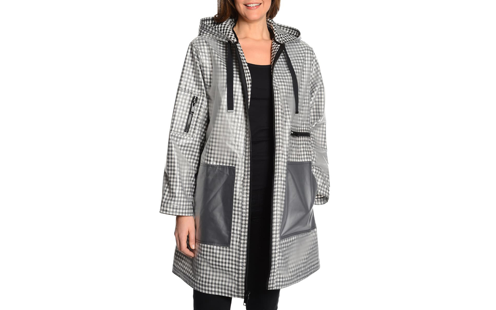 Rachel Roy Rubberized Gingham Raincoat
