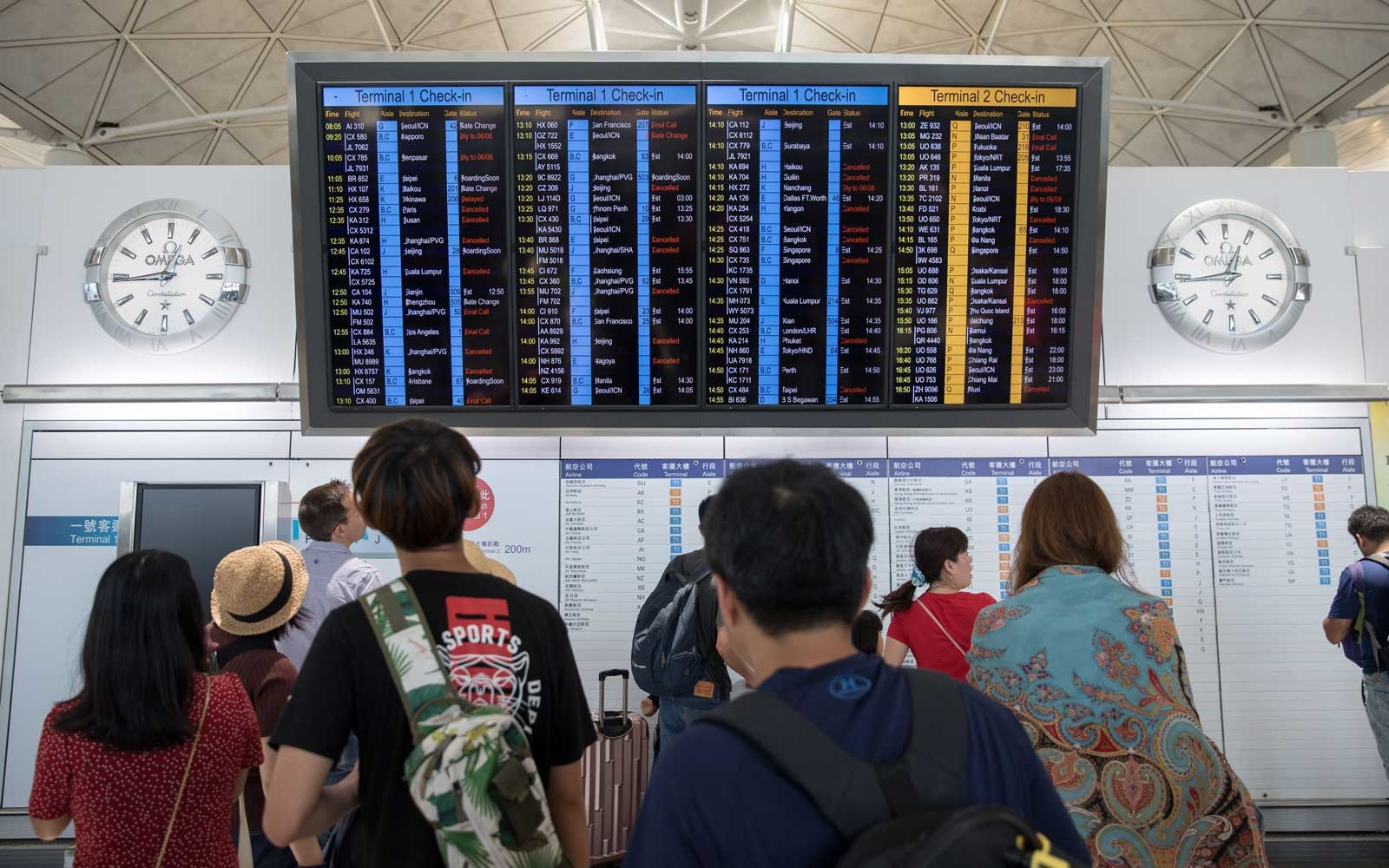 Passengers at Hong Kong International Airport during city-wide strike, China - 05 Aug 2019