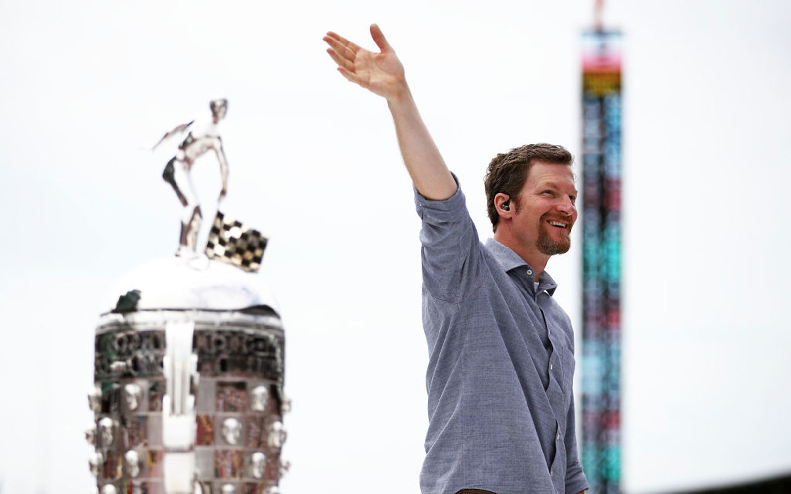 Dale Earnhardt Jr. is introduced prior to  during the 103rd running of the Indianapolis 500 at Indianapolis Motor Speedway