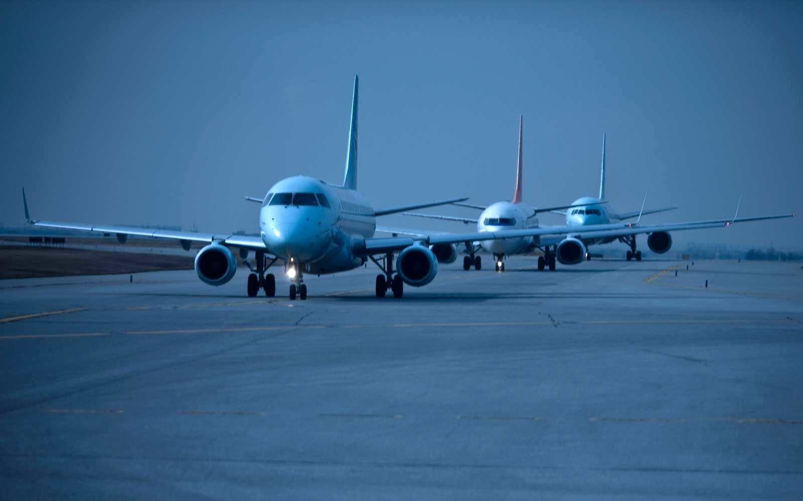 Airplanes waiting for take-off