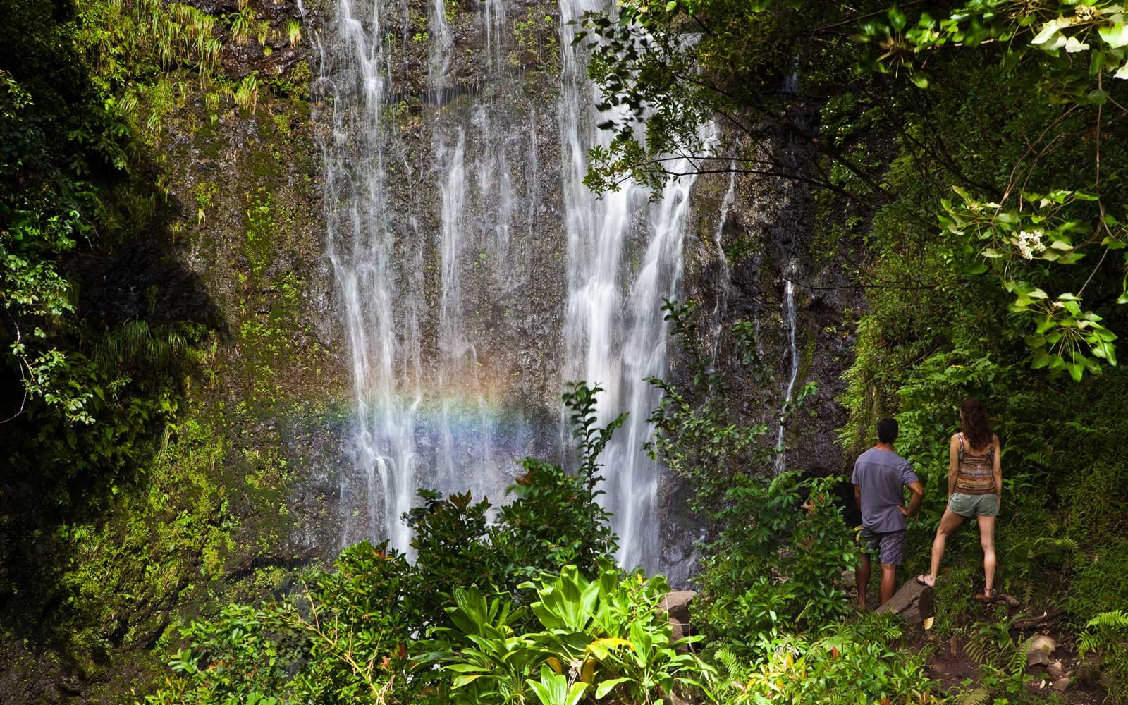 Couple enjoying Wailua Falls
